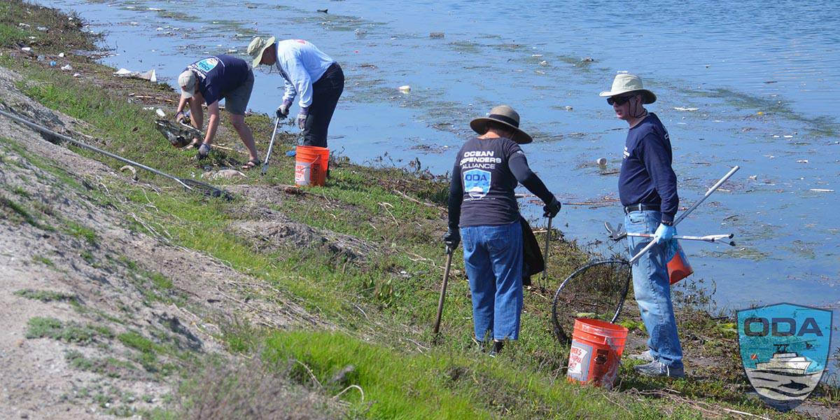 crew cleaning shore