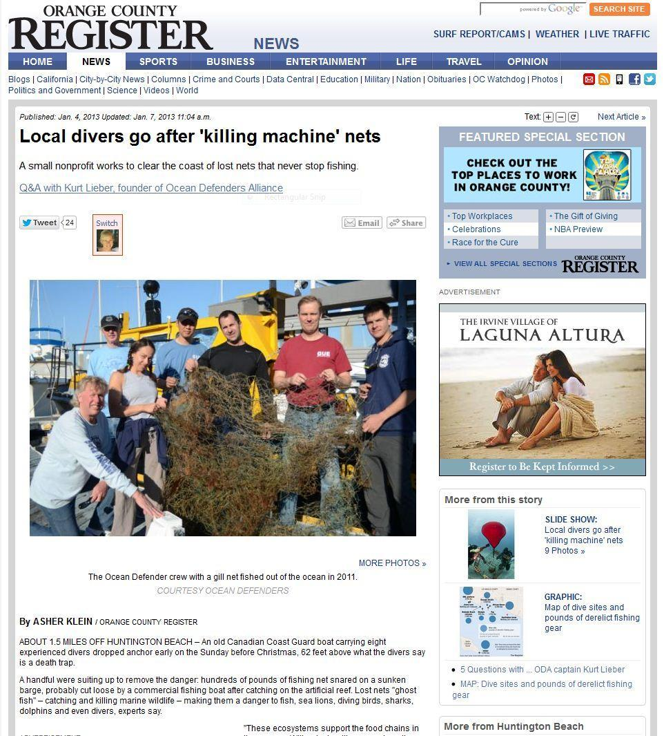 Orange County Register Online article about Ocean Defenders Alliance ODA