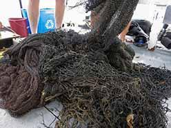 Pile of net on rear deck of the <em>Clearwater</em>