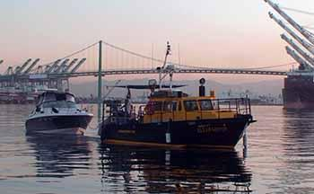 ODA Boats, the <em>Clearwater</em> and Miss T, leaving San Pedro Harbor