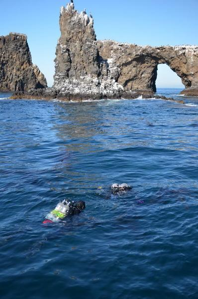 Trevor and Pete Fulks in Arch Rock waters
