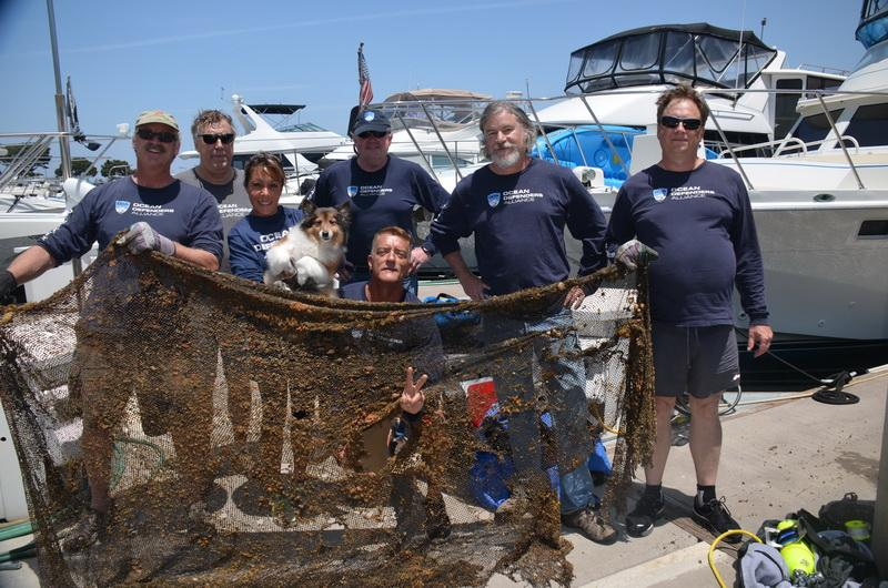 Ocean Defenders Dive and Boat Crew with the ocean debris they hauled in.