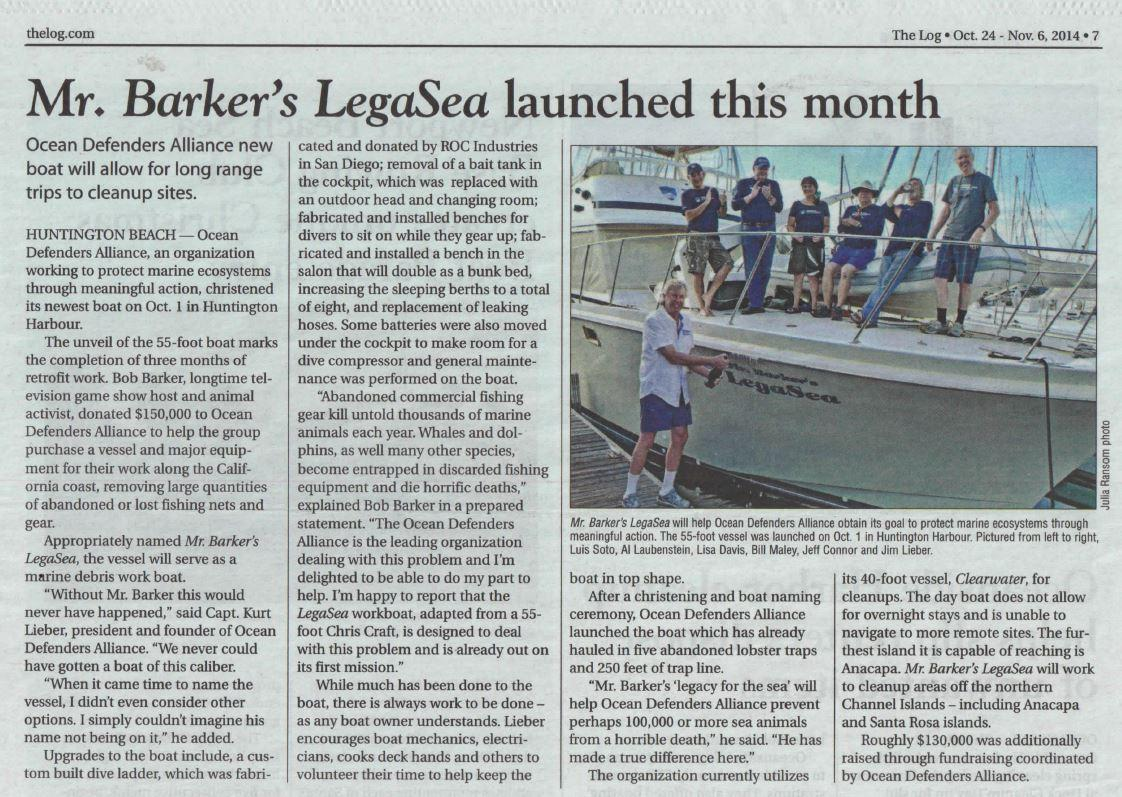 Ocean Defenders Alliance featured in The Log, California's Boating and Fishing News