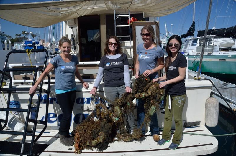 Ocean Defender Women with the day's haul of marine debris.