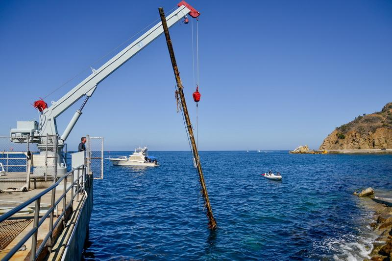 Marine debris from sunken boat being lifted by crane