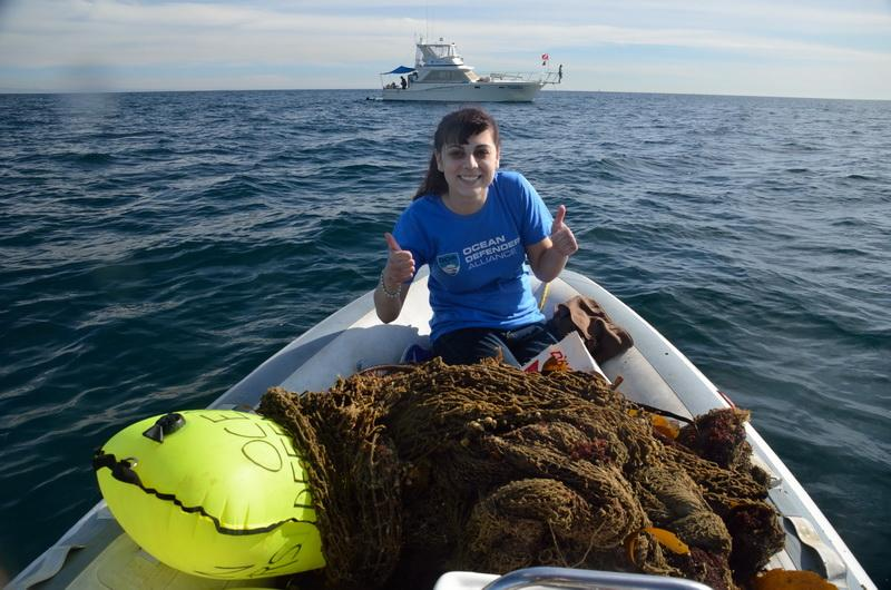 Ocean Defender Brooke in RIB with recovered net debris
