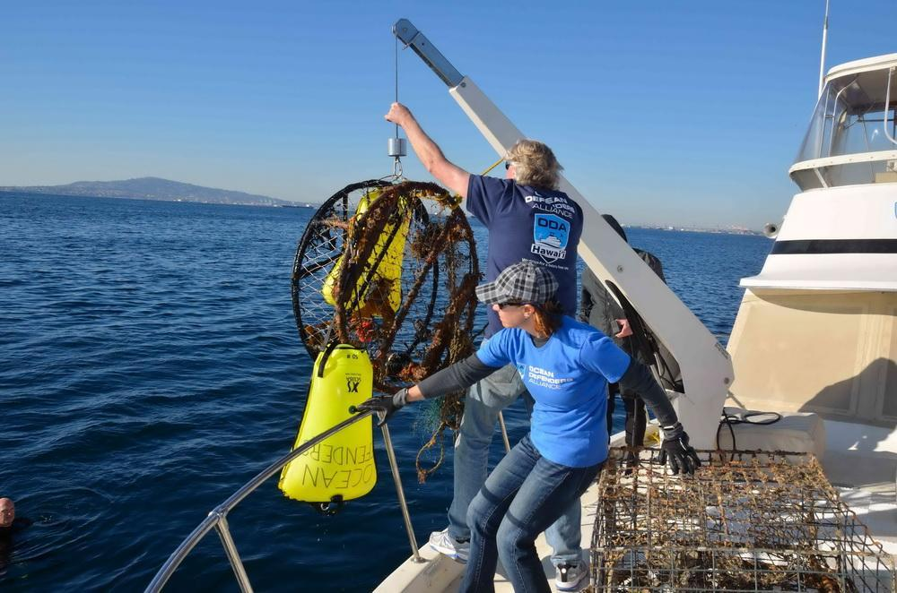 ODA Volunteers pull abandoned crab trap onto boat deck for proper disposal.