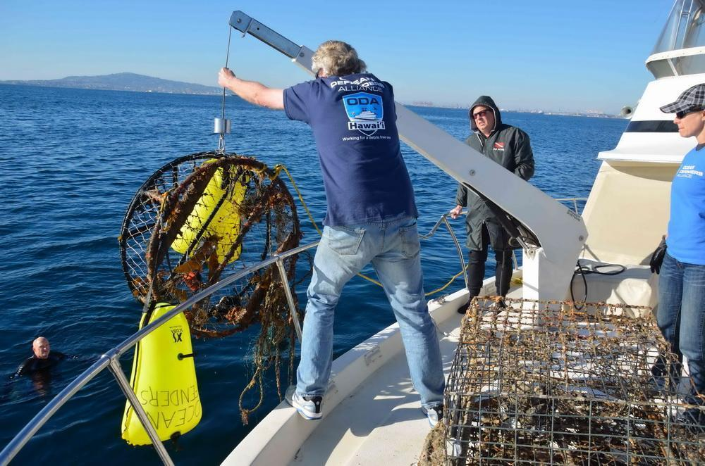 Abandoned crab pot is removed