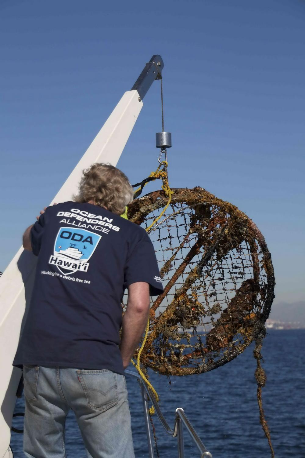 ODA hauls crab trap out of the ocean