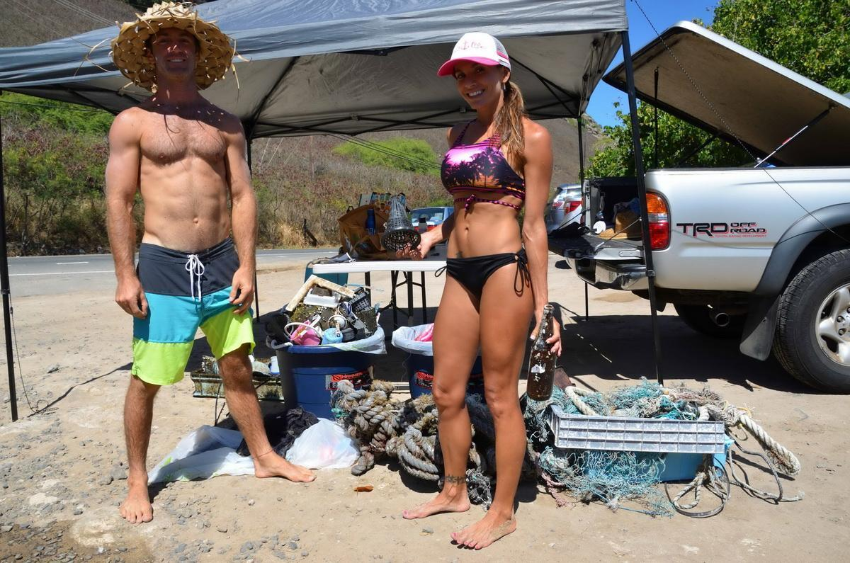 "Hawaiian locals Scoup and Carla with the ""days catch"""