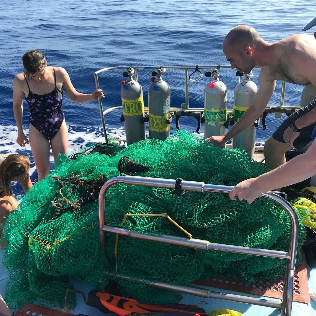 Crew removes live animals from ghost net
