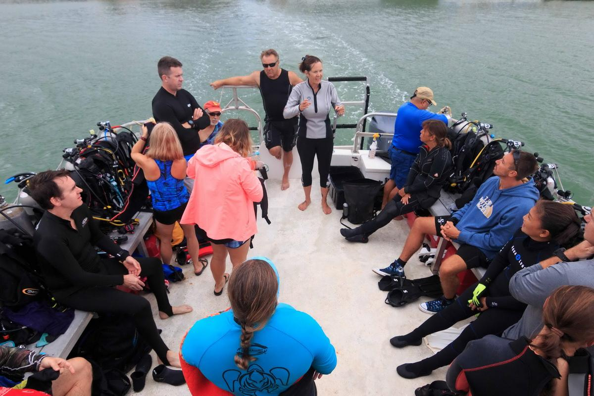 Island Divers Instructor Mary gives crew briefing
