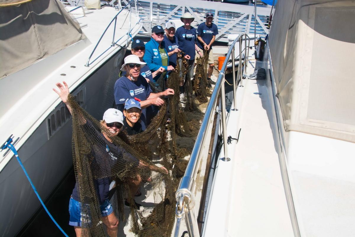 ODA volunteer crew with squid net they removed